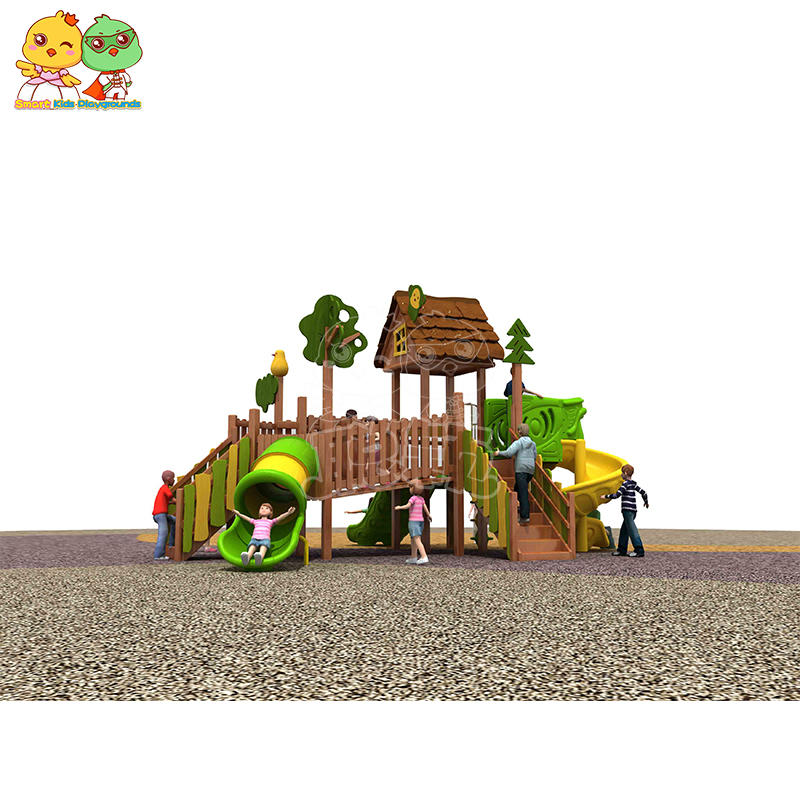 Professional outdoor playground equipment,kid wooden slide skp