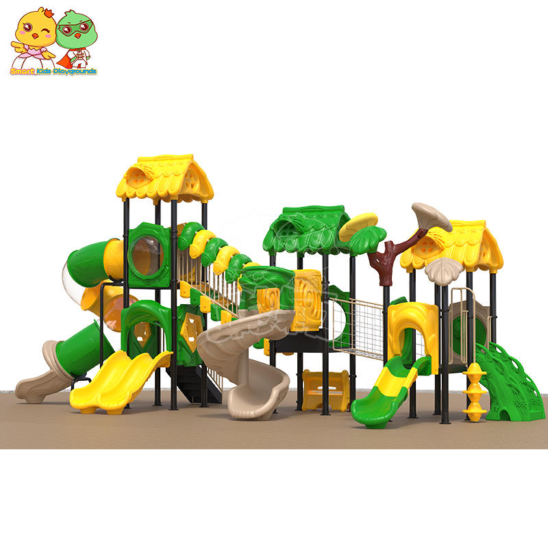 Outdoor equipment plastic kids slide jungle theme for skp