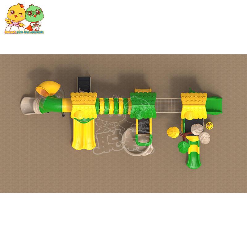 Outdoor equipment plastic kids slide jungle theme for skp