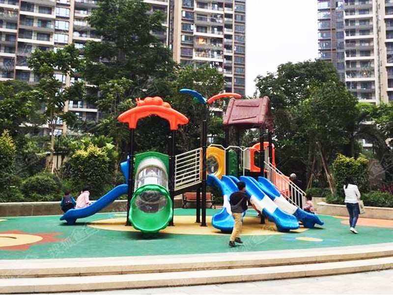 SKP playground plastic slide directly sale for residential area-18