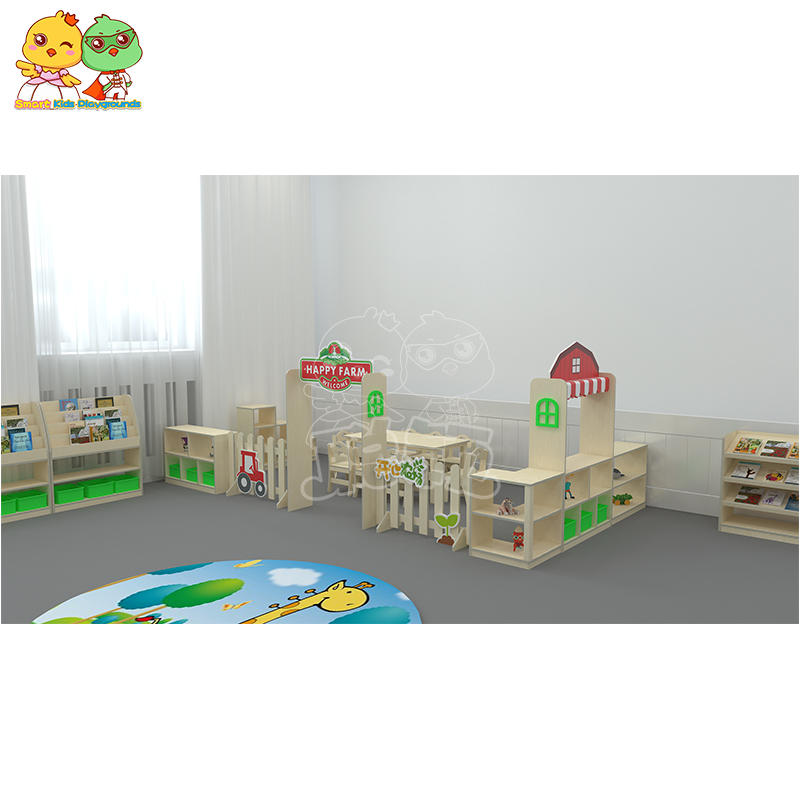 oak pine kindergarten farm fence combination furniture SKP