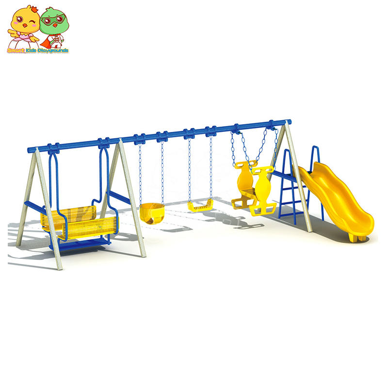 Galvanized Steel Tube Plastic Children Swing Slide Combination SKP
