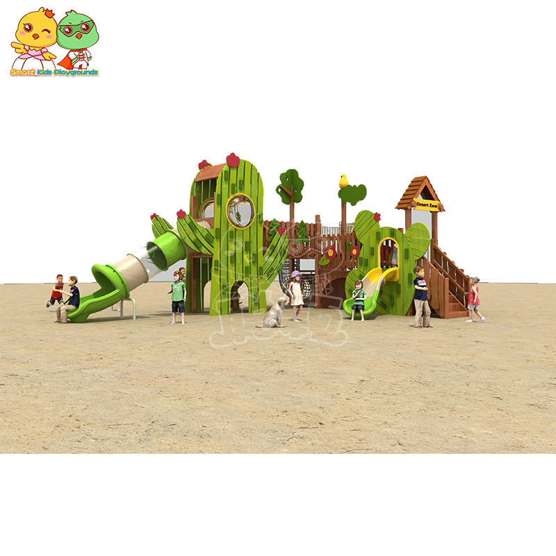 Children's slide cactus modeling series yellow pear wood SKP