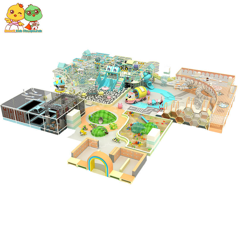 Multi-function best candy macaron indoor playground ball pool trampoline