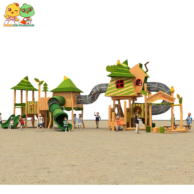 Outdoor slide playground equipment wooden theme slide