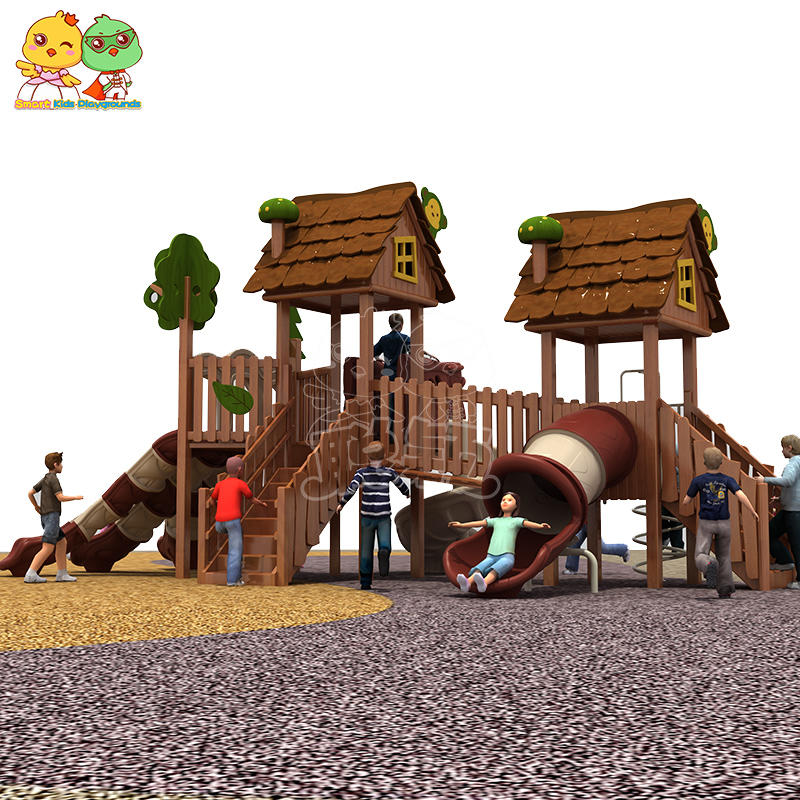 Chocolate colored wooden slide outdoor amusement equipment for children