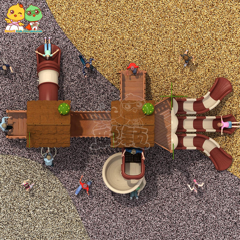 Chocolate colored wooden slide outdoor amusement equipment for children
