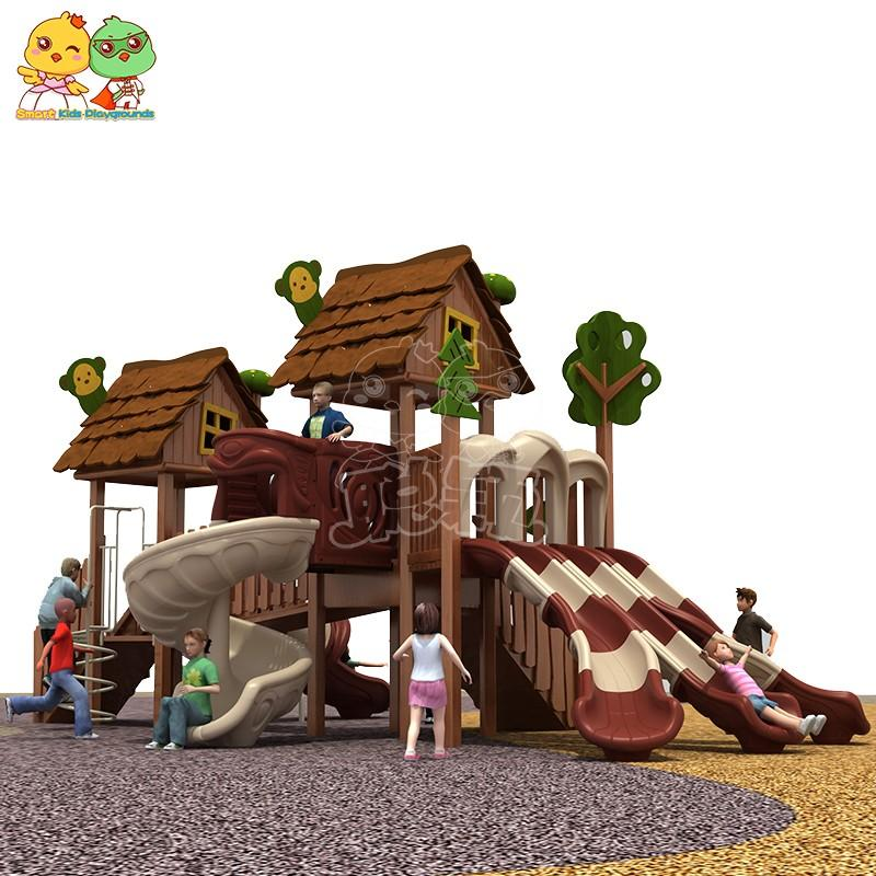 SKP wooden plastic slide factory for pre-school