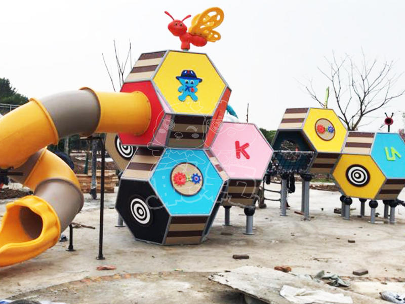 Outdoor playground features equipment