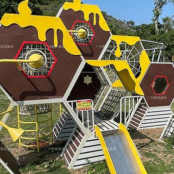 Playful kids PE board playground equipment outdoor custom kids honeycomb slide for park