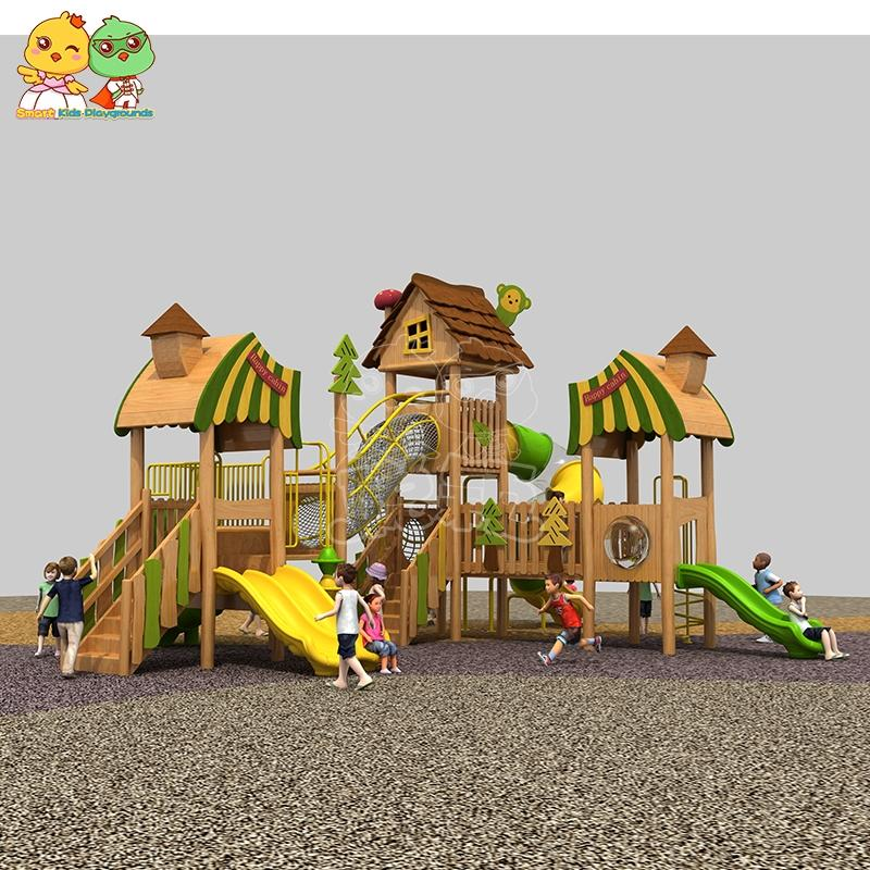 2021 new children plastic wooden slide kindergarten outdoor playground play set