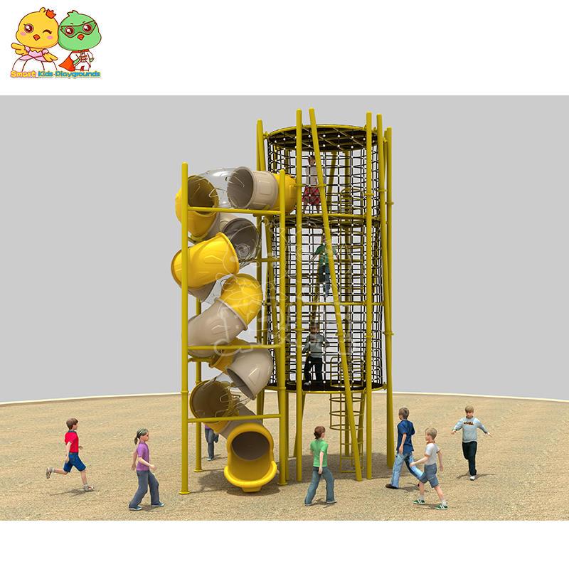 Large non-standard custom children outdoor play climbing equipment kids combined plastic slide