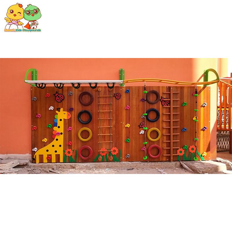 Cute cartoon children's wooden climbing wall kindergarten custom wooden kids climbing